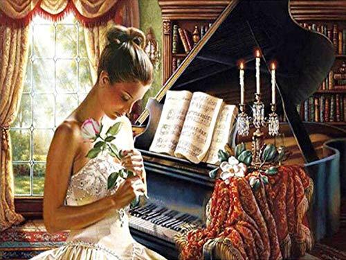 Diamant peinture femme diamant mosaïque piano kit broderie mur art cercle complet diamant à la main diamant peinture A9 60x80 cm