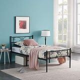 HJhomeheart Lit Simple en Métal Cadre de lit pour Adulte Lit 90x190, Lit en Metal Moderne Lit Plateforme avec tête de Lit et Lattes, Lit pour Chambre à Coucher, Chambre d'amis, Noir