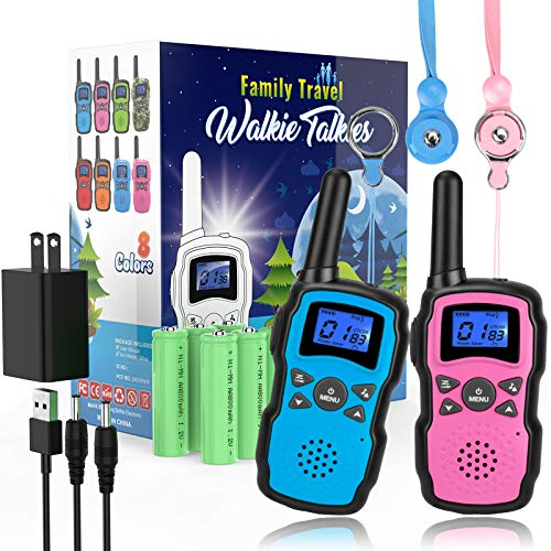 Wishouse Rechargeable Walkie Talkies for Kids with Charger Battery,Family Radio Long Range,Outdoor Game Camping Spy Amy Police Toy,Birthday Party Gift for 4 5 6 7 8 9 10 Year Old Girls Boys