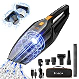 HIMOX 8000pa 120W Strong Suction Car Vacuum, Rechargeable Cordless Hand Vacuum Cleaner with Powerful Cyclonic Suction/2 Filters and 5 Attachments for Home Pet Hair Dust Gravel Cleaning