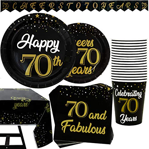 102 Piece 70th Birthday Party Supplies Set Including Plates, Cups, Napkins, Banner and Tablecloth, Serves 25