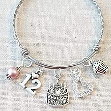 12th BIRTHDAY Bracelet, 12th Birthday Charm Bracelet, Granddaughter Daughter Gift Idea, Twelfth Birthday Gift, 12 Year Old Birthday Bangle