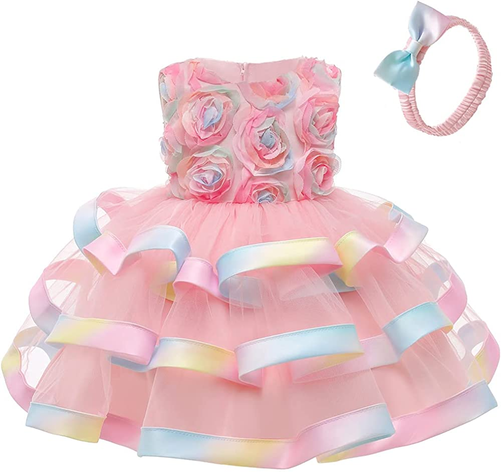 WZSYGDTC Toddler Baby Girls Colorful Princess Dress Formal Wedding Party Tutu Gown with Headwear