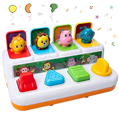 HomeMall Baby Interactive Pop Up Animals Toy, Toddlers Musical Learning Infant Sensory Pop-up Activity Toys for 6 -12-18 Months & 1 Year Old Kids Boys Girls Gifts