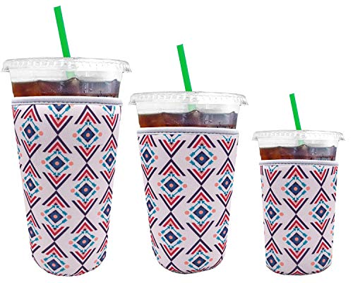 3 Pack Reusable Iced Coffee Cup Sleeves Insulated Neoprene - Cold Drink Cup Holder for Compatible with Starbucks Coffee, McDonalds, Dunkin Donuts, More (3 PK Sm-Med-Lg, Khaki National Design)