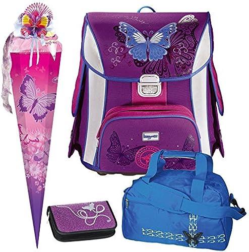 Butterfly Schmetterling Leicht-Schulranzen Set Baggymax SIMY Hama 4tlg. mit SCHULSPORTTASCHE und SCHULTüTE