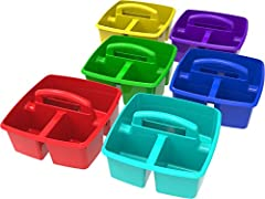 3 compartments (1 large, 2 small) Comfort grip handle, impact resistant plastic Stacks and nests deeply Organize essential supplies for grab and go usage Available colors include red, blue, yellow, green, purple and teal, although color selection wil...