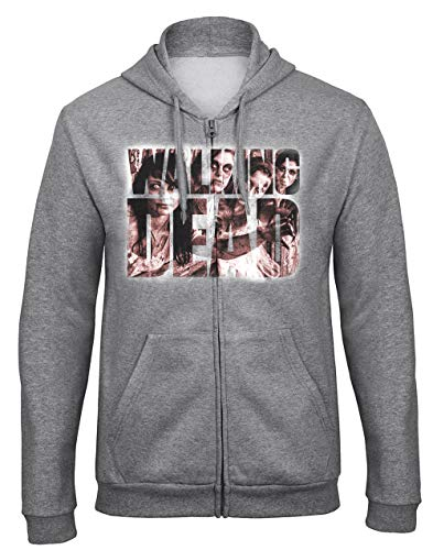 shirt19 Walking Dead Horror Zombie Fun Grigio Hooded Zip à Capuche Sweat Zippé Felpe con Cappuccio -9073 - GR