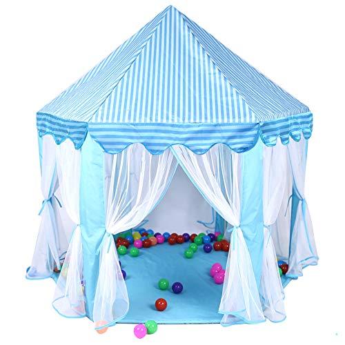 Georgie Porgy Castello Esagonale per Bambini Gioca a Tent House Ragazze Dentro Fuori Giocattolo Gioco Casa (Blu)