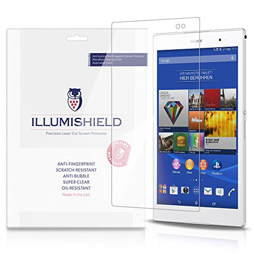 iLLumiShield Screen Protector Compatible with Sony Xperia Z3 Tablet Compact (2-Pack) Clear HD Shield Anti-Bubble and Anti-Fingerprint PET Film