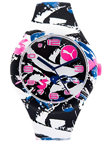 PUMA Damen Analog Quarz Smart Watch Armbanduhr mit Silikon Armband PU103001022