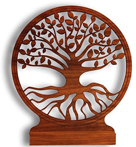 myZirbe Baum des Lebens aus Nußholz mit Standfuß, Größe:20cm