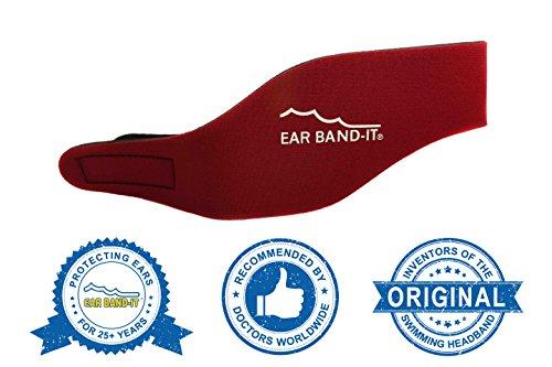 Ear Band-It Diadema Schwimmen (erfunden von einem Arzt) behält Wasser, vorbehaltlich die Stecker Ohren (sicher) die Stecker Ohren Mittel (4-9) Rot