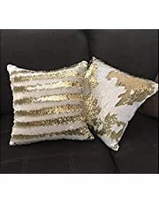 Rockford™ Cushion Cover 16x16 Set of 5 Sequin Mermaid Throw Pillow Cover with Color Changing Reversible Paulette Pillow Case - Golden & White