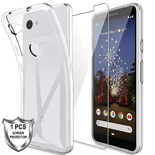LK Cover Compatibile con Google Pixel 3a Custodia, 1 Pezzi Pellicola Protettiva in Vetro Temperato, Morbida in Silicone Flessibile Cristallo Limpido Trasparente Slim Protezione Case, HD Chiaro