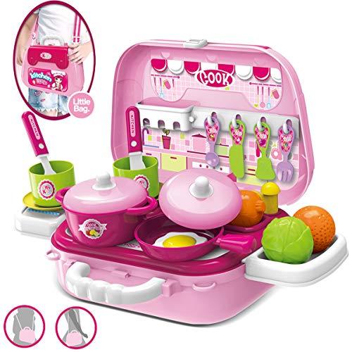 Dreamon Mini Cocina de Juguete Set Maletín con Accesorios Juegos de imitación de Cocinitas Regalo Educativo para Niños 3 años ,Rosa