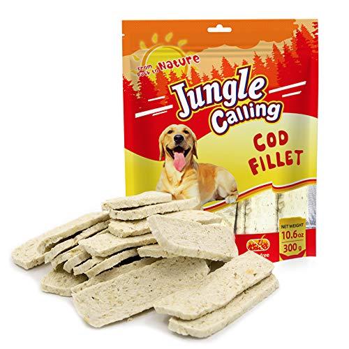 Jungle Calling Snack di Filetto di Merluzzo, Frutti di Mare Sani per Dolcetti da Addestramento per Cani, 300 g