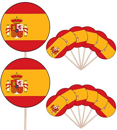 Spanje Vlag Partij Voedsel Cake Cupcakes Picks Sticks Vlaggen Opstaan Decoraties Toppers (Pak van 14)