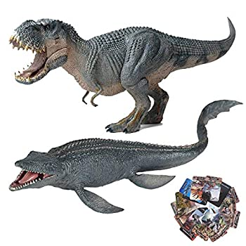 Gemini&Genius Vastatosaurus Rex and Strong Mosasaur Set Jurassic World Park Tarbosaurus Dinosaurs Figurine Toy with 16Pcs Dinosaurs Flash Cards for Kids from 3-12 Years Old Boys and Girls Gift(3 in 1)