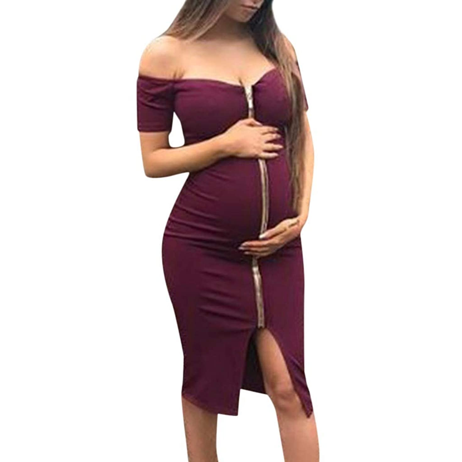 Iusun Women's Maternity Dress Off-Shoulder Sexy Zipper Solid Sundress Nursing Baby Breastfeeding Pregnants for Summer Daily Vacation Holiday
