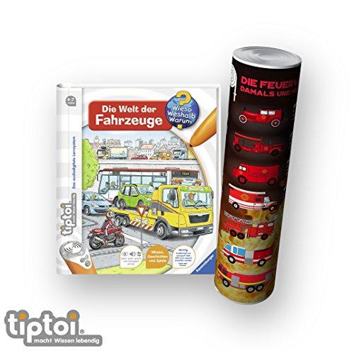 tiptoi Ravensburger Buch Wieso? Weshalb? Warum? 4-7 | Die Welt der Fahrzeuge + Kinder Feuerwehr Auto Poster