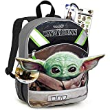 Star Wars Mandalorian School Supplies Set Baby Yoda School Bundle - Large 16' Baby Yoda Shaped Ears Backpack with Stickers and Bookmark