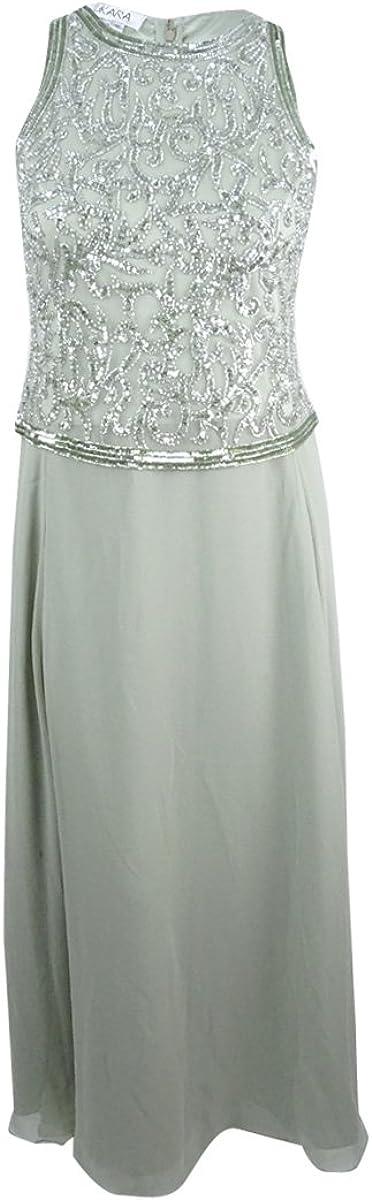 J Kara Women's Beaded A-Line Gown (12, Sagsil)