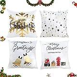 Sunshine smile 4 fundas de cojín con diseño de Navidad, 45 x 45 cm, color blanco