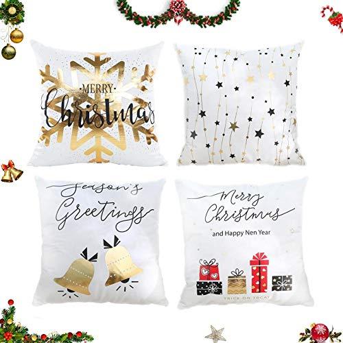 Sunshine smile, 4 federe per cuscino natalizio, con motivo natalizio, 45 x 45 cm (bianco)