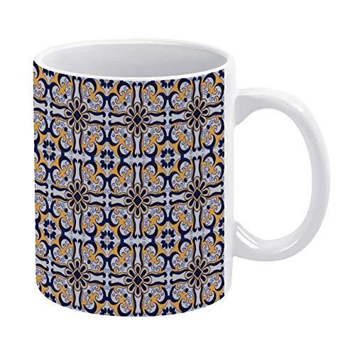 N\A Taza de café Divertida Taza de té de café de 11 oz Taza Divertida Taza de café novedosa - Patrón de Azulejos portugueses para Hombres Mujeres Festival de cumpleaños Compromiso de Navidad
