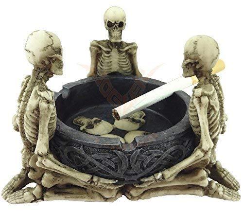 Aschenbecher mit drei Skeletten | Totenkopf Deko Figur Gothic