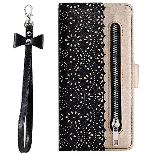 ZCDAYE Zipper Wallet Case for Huawei P30 Pro,Fabulous Glossy Pattern Magnetic Closure PU Leather [Bowknot Lanyard][Kickstand][Card Slots] Soft TPU Book Case Cover for Huawei P30 Pro-Black