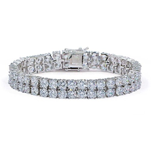 "JINAO 2 Rows AAA Gold Silver Iced Out Tennis Bling Lab Simulated Diamond Bracelet 8"" (7"
