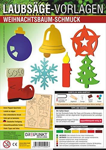 Laubsägevorlage Weihnachtsbaumschmuck: Laubsägevorlage für sieben verschiedene Weihnachtsbaumanhänger aus hochwertigem 3mm Pappelsperrholz.