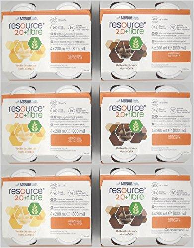 Resource 2.0 fibre - 2 Sorten Mischkarton mit 24 Flaschen, Geschmacksrichtungen: 12x Vanille 12x Kaffee - im exclusiven ConsuMed Bundle inkl. Produktplakat