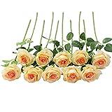 JUSTOYOU Rose Artificielle Fleurs De Soie Bouquet Home Office Arrangements De Mariage Champagne (10 PCS)
