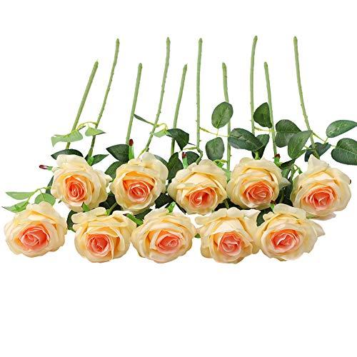 JUSTOYOU 10 Pack Seide Künstliche Rose Blumen Brautstrauss Blumen(Champagner)
