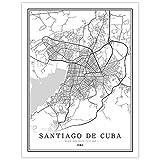 SLYBDA Impresión Sobre Lienzo Cuadro Cuba Santiago De Cuba City Map Wall Artístico Impresión Moderna Decoración Hogar Estilo Blanco Y Negro Obra Arte Dormitorio Cocina Murales 80X110cm