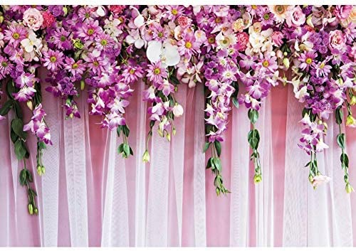 OERJU 12x10ft Wedding Backdrop for Reception Purple Curtain Floral Wedding Ceremony Background for Photography Bridal Shower Decor Marriage Anniversary Banner Wedding Photo Background