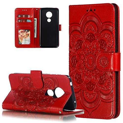 COTDINFOR Etui für Motorola Moto G7 Power Hülle PU Leder Cover Schutzhülle Magnet Tasche Flip Handytasche im Bookstyle Stand Kartenfächer Lederhülle für Motorola Moto G7 Power Red Mandala LD.