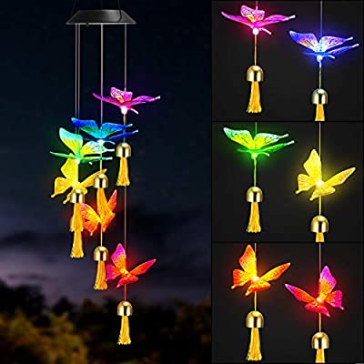 SDFGAUOE Solar Wind Chimes Light, Colourful butterfly Solar Powered LED Night Light, Waterproof Mobile Hanging Light Wind Chimes With Bell For Outdoor Indoor Garden Yard Pathway Decor