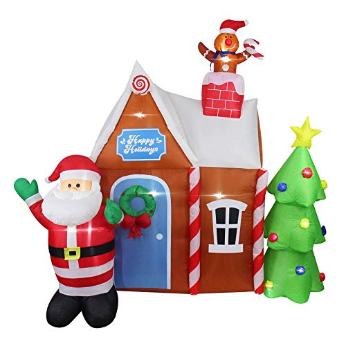 AsterOutdoor 7ft Christmas Decorations Inflatable Gingerbread House with Santa Claus Blow Up Built-in LED Outdoor Indoor Yard Lighted for Holiday Season, Quick Air Blown, 7 Foot High