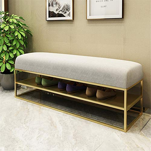 KoTag Shoe Bench Durable Upholstered Tufted Long Bench Seats with Metal Frame Leg,Ottoman with Padded Seat Perfect for Entryway, Living Room and Corridor (Color : White, Size : 120x35x45cm)