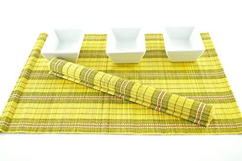 vnhomeware 6 Sets de Table, Sets de Table Fait Main en Bambou, Lot de 6, Noir/, P074