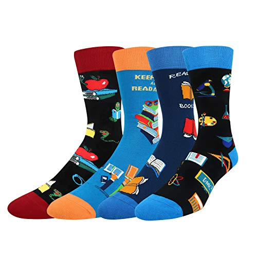 Men's Book Reading Bookworm Nerd Cotton Socks, Novelty Crazy School Teacher Gift