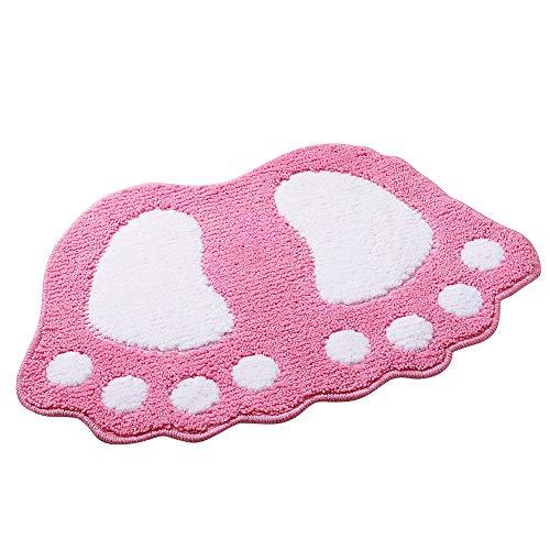 Alfombra de baño ParaCity con dibujo de pies grandes, absorbente y antideslizante, Rosa, 48*67CM