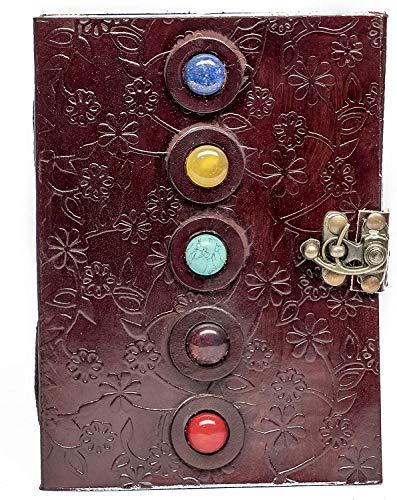 5 Stone Embedded dunkles Leder Cooper Lock leeres Notizbuch Journal Büromaterial
