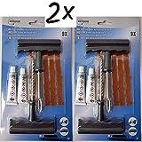 BENSON 2 x Notfall Autoreifen Reparaturset 9-teiliges Flickzeug als Pannenhilfe für Reifenreparatur - 2er Pack