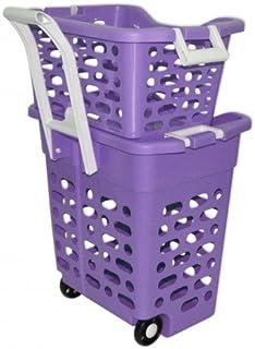 Wilai Panier à Linge sur roulettes Violet avec poignée rétractable, 2 casiers, trieur blanchisserie, Couleur, Lingerie Cad...