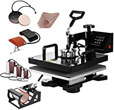 SmarketBuy Heat Press 15x15 Inch Digital Sublimation T-Shirt Heat Press Machine for Hat Mug Plate 8 in 1 Black